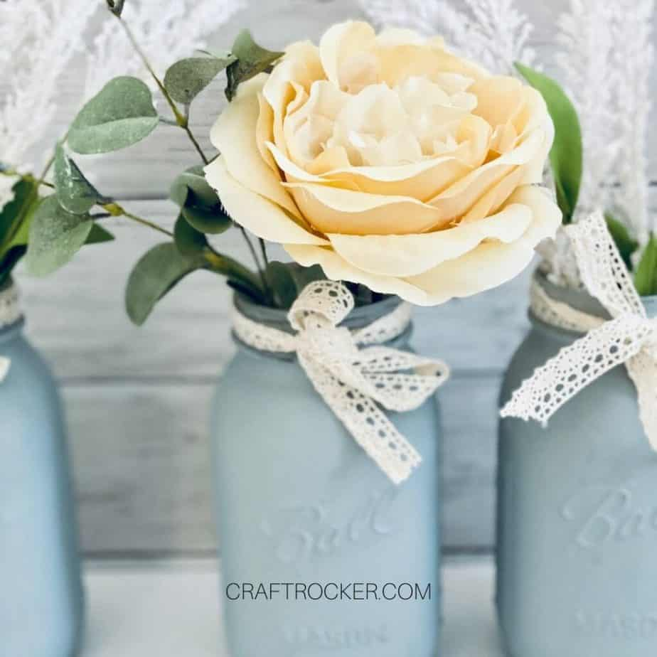 Close Up of Flower in Mason Jar Vase - Craft Rocker