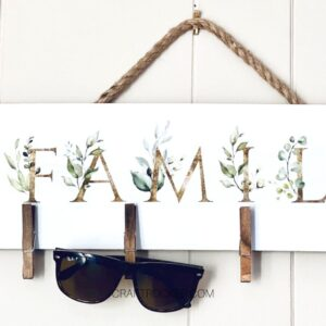Close Up of Hanging Family Sign - Craft Rocker