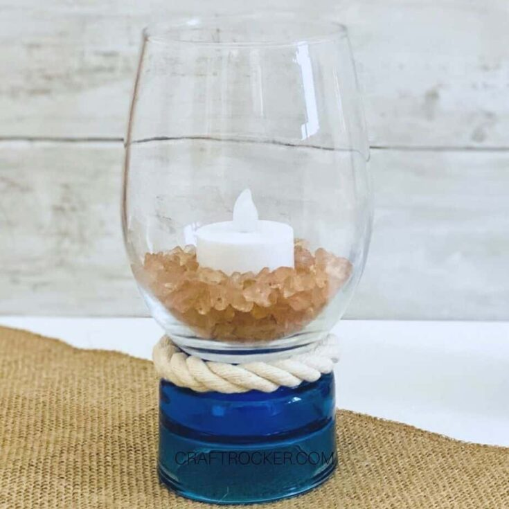 Close Up of Nautical Candle Holder with Candle Inside - Craft Rocker