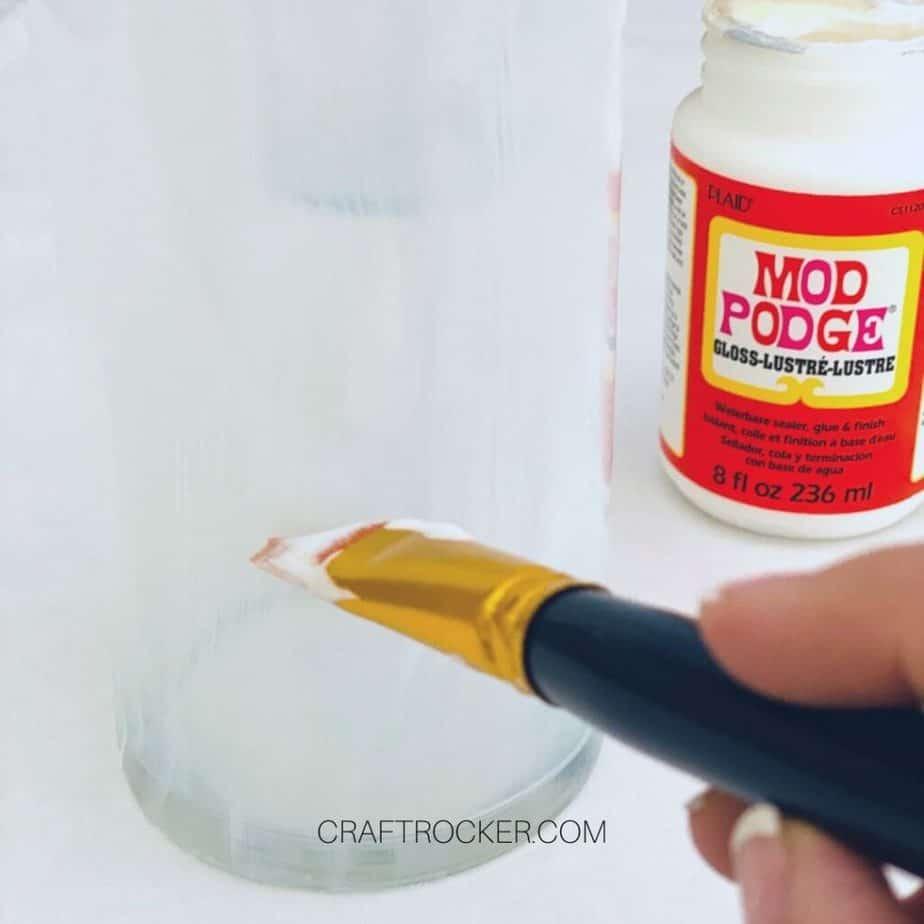 Close Up of Paint Brush Putting Mod Podge on Vase - Craft Rocker