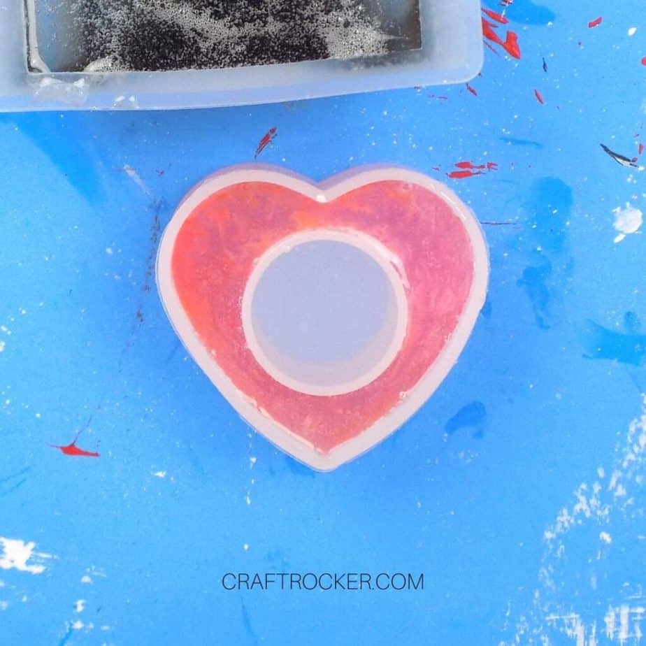 Close Up of Resin and Dye in Heart Napkin Ring Mold - Craft Rocker