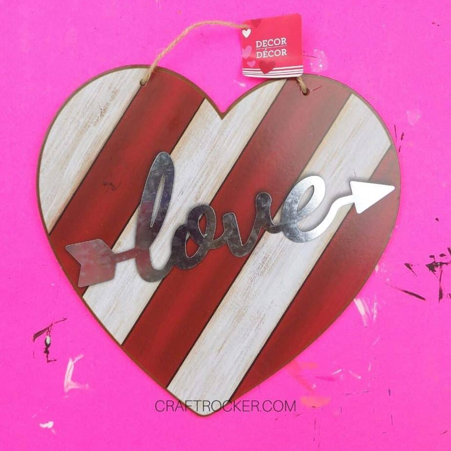 Close Up of Striped Wood Heart Sign - Craft Rocker