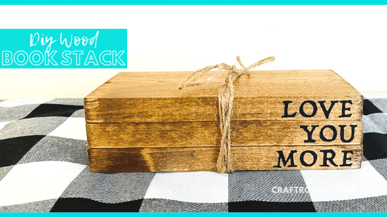 Close Up of Twine Wrapped Wood Blocks with text overlay - DIY Wood Book Stack - Craft Rocker