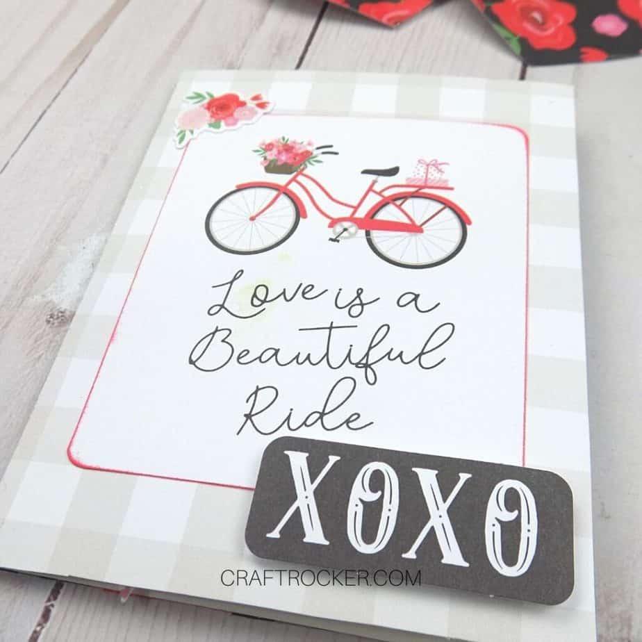 Close Up of XOXO Embellishment on Valentine Card - Craft Rocker