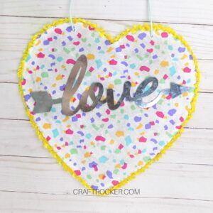 Colorful Valentines Heart Decoration on Wood Background - Craft Rocker