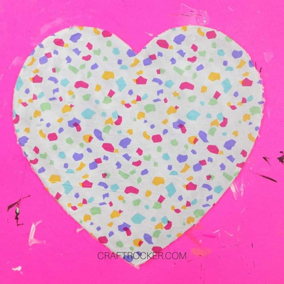Confetti Tissue Paper and Mod Podge on Wood Heart - Craft Rocker