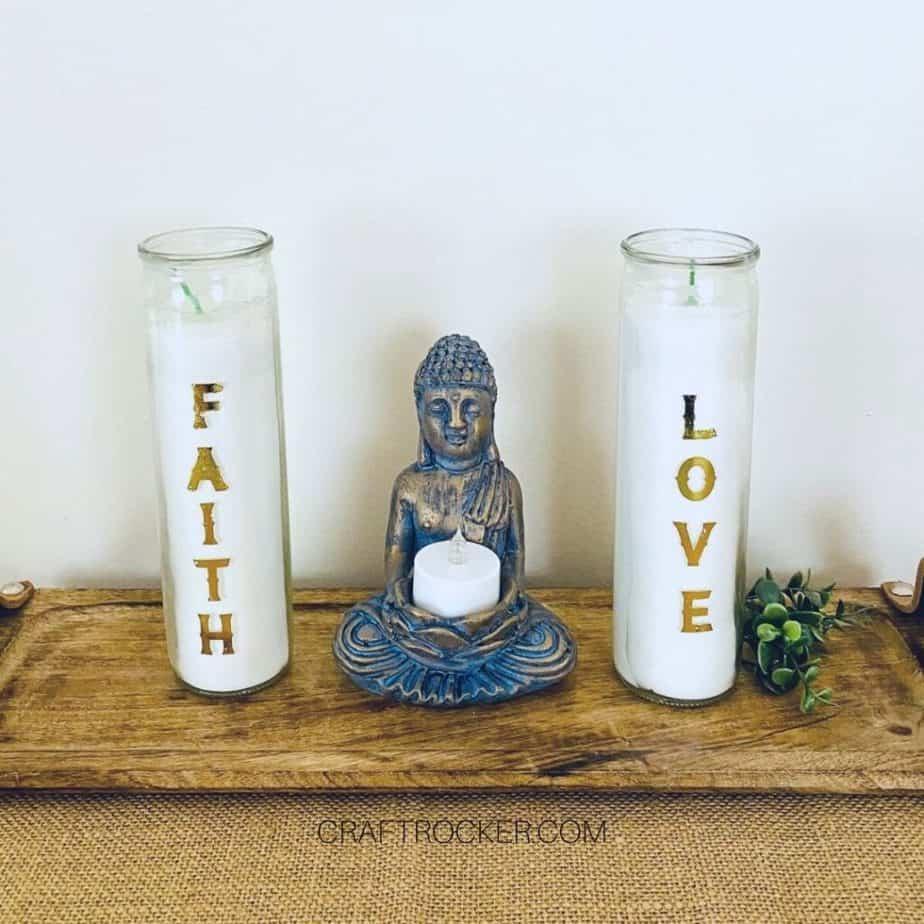 Decorative Candles next to Statue - Craft Rocker