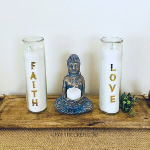 Decorative Candles next to Statue - Craft Rocker