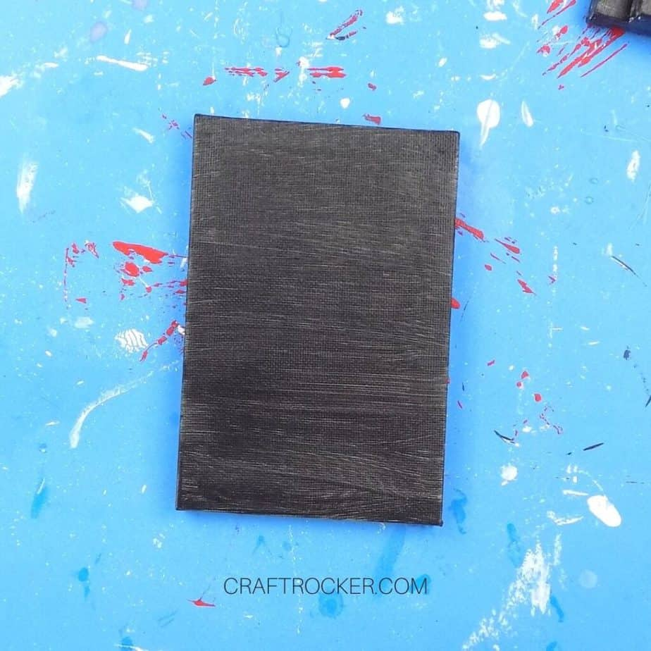 Dry Black Painted Mini Canvas on Blue Background - Craft Rocker