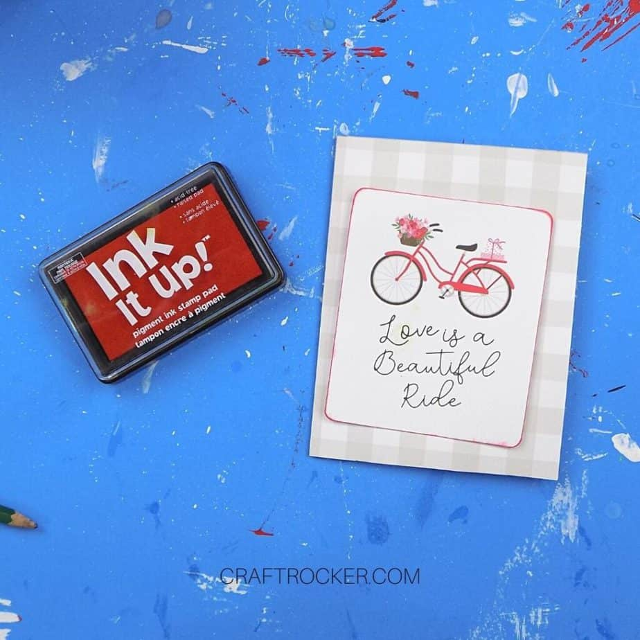 Edges of Valentine Bike and Saying Paper Chalked Red - Craft Rocker