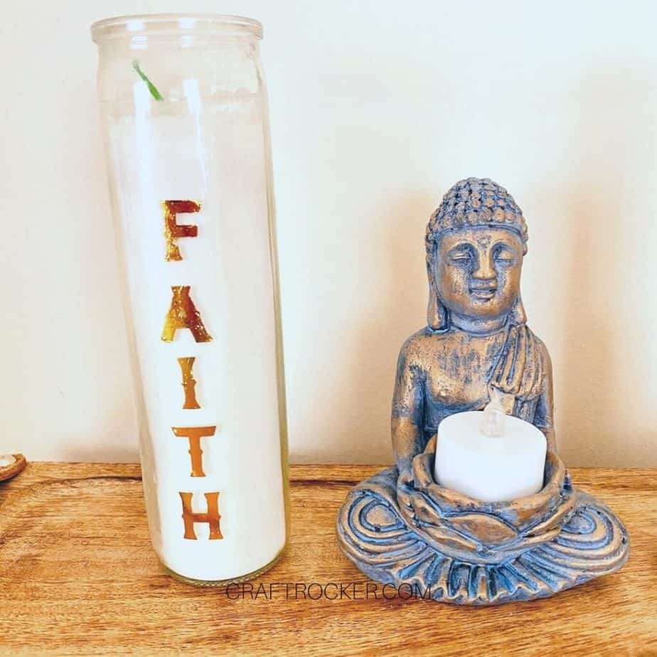 Faith Candle next to Statue - Craft Rocker
