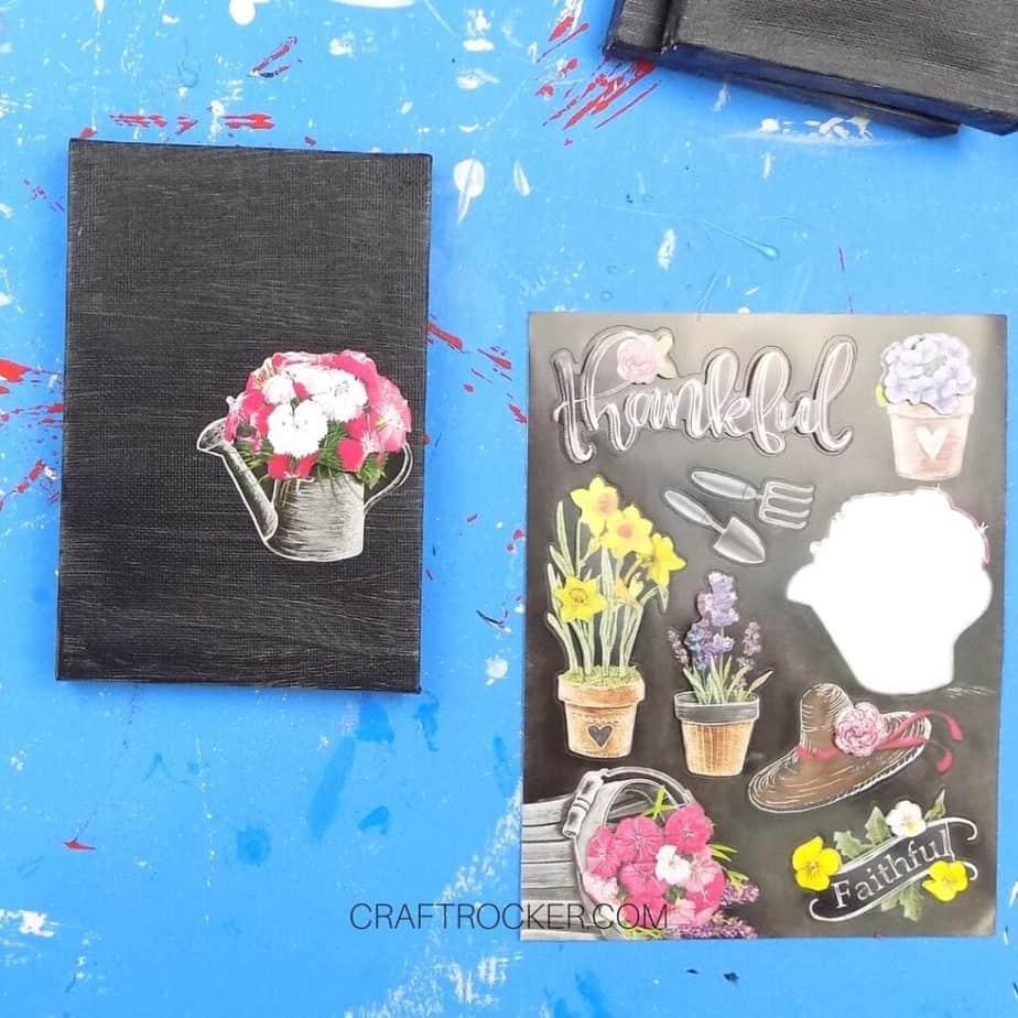 Flower Stickers next to Black Canvas with Sticker on It - Craft Rocker