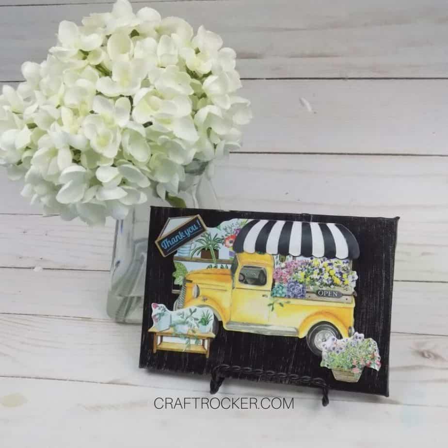 Flower Truck Decorative Canvas next to Vase of Flowers - Craft Rocker