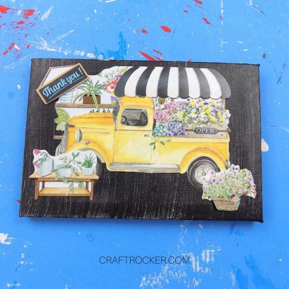 Flower Truck Decorative Canvas on Blue Background - Craft Rocker