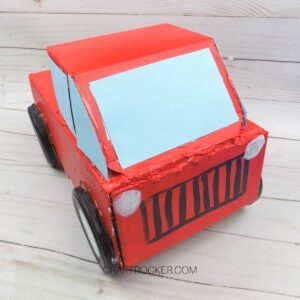 Front View of Red Pickup Truck Valentine Box - Craft Rocker