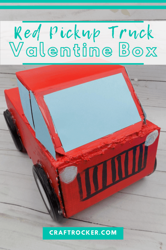 Front View of Red Truck Box with text overlay - Red Pickup Truck Valentine Box - Craft Rocker