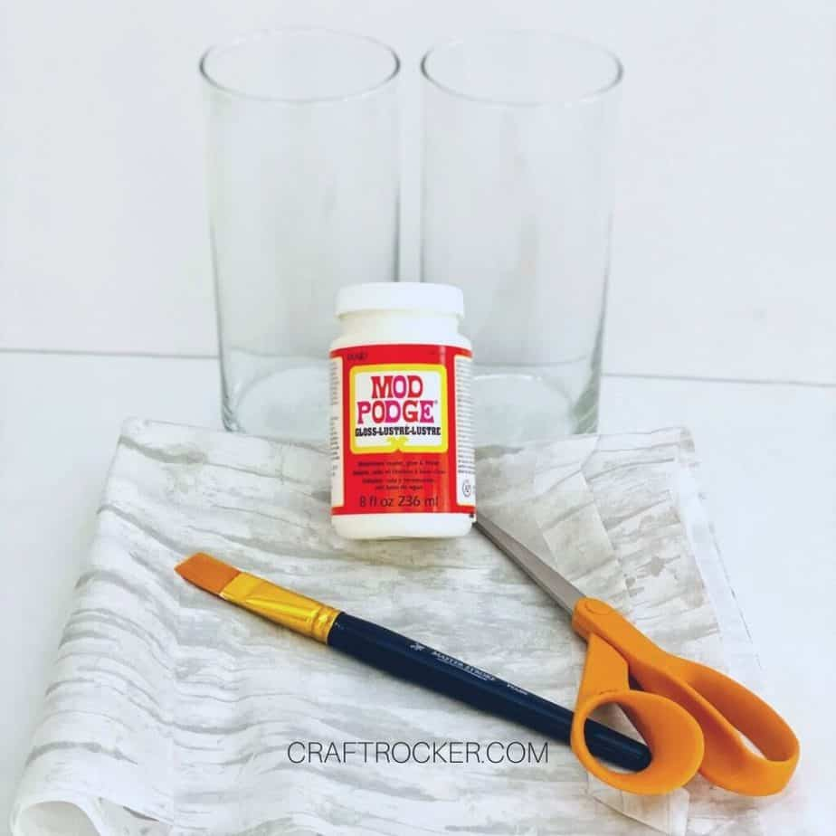 Glass Cylinder Vases next to Craft Supplies and Tissue Paper - Craft Rocker