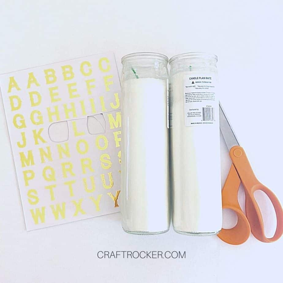 Gold Rub on Letters next to Candles and Scissors - Craft Rocker
