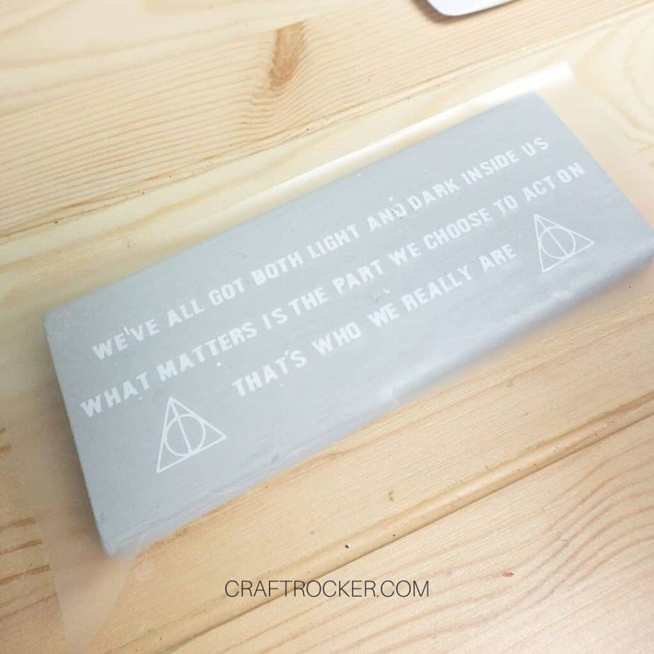Harry Potter Vinyl Quote and Transfer Tape on Top of Wood Block - Craft Rocker