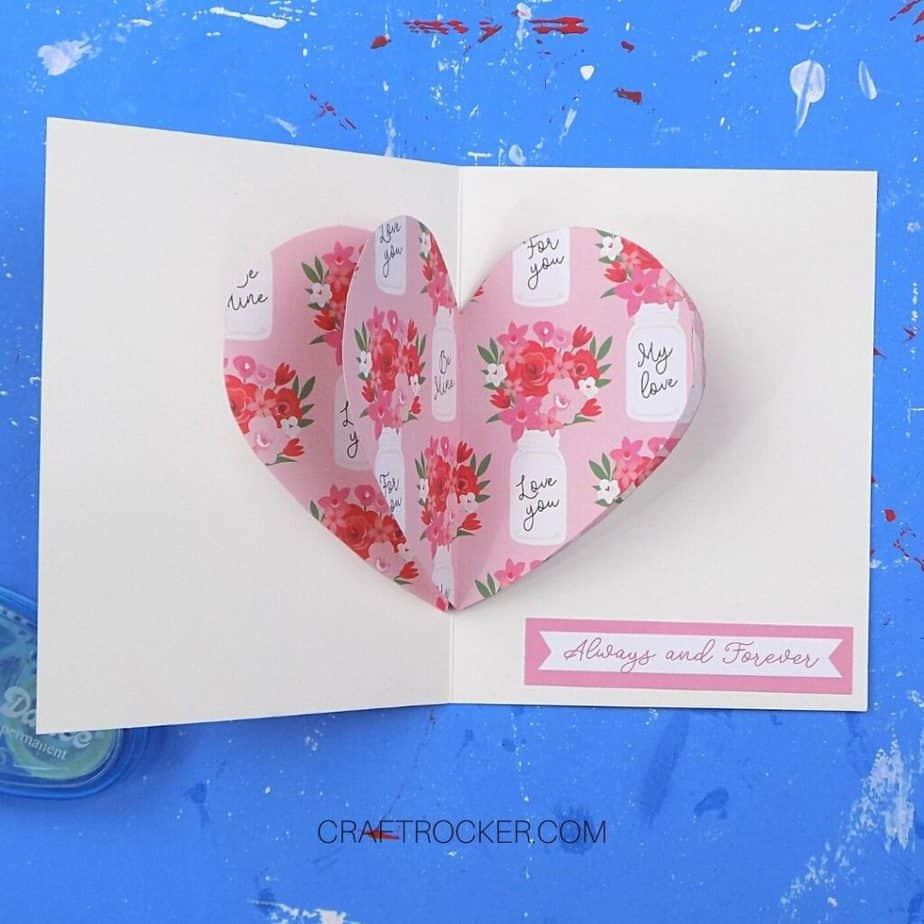 Inside of 3D Heart Greeting Card - Craft Rocker