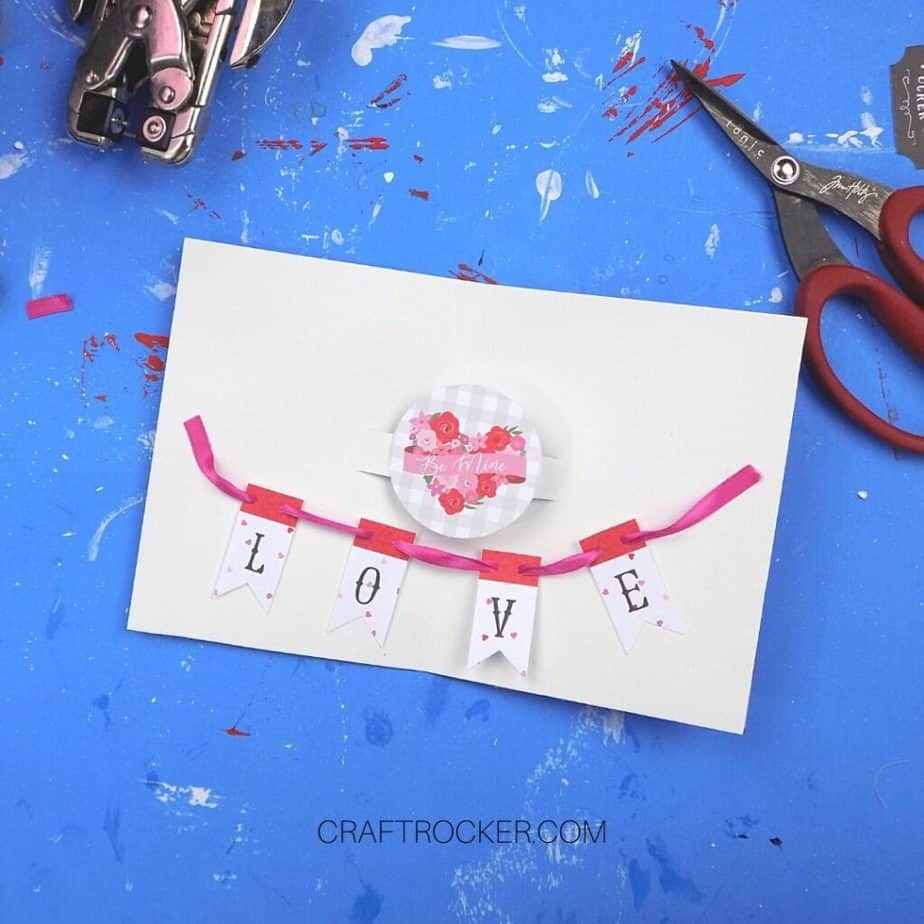 L-O-V-E Banner Attached to Inside of Pop Up Heart Card - Craft Rocker