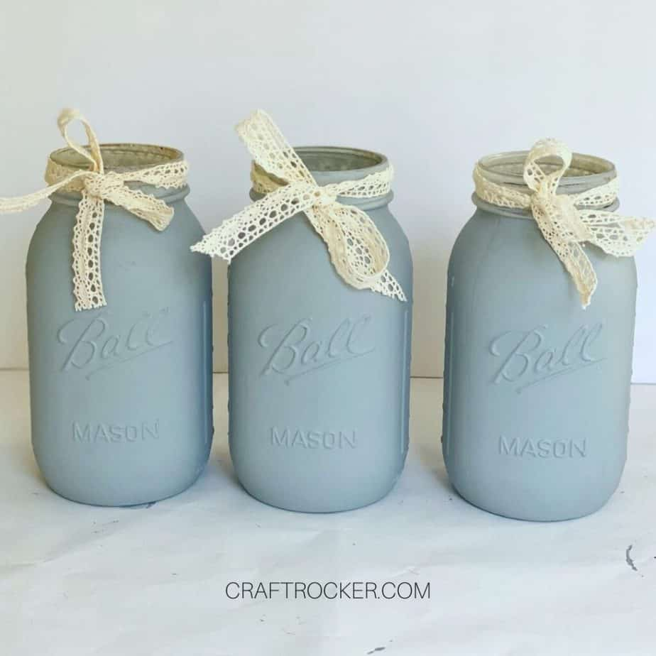 Lace Ribbons Tied Around Mouths of Mason Jars - Craft Rocker