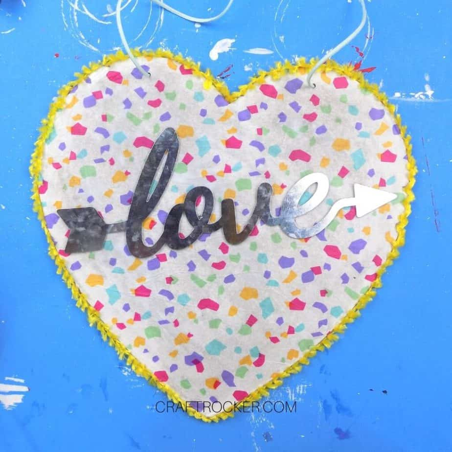 Metal Word Love Glued to Center of Heart Sign - Craft Rocker