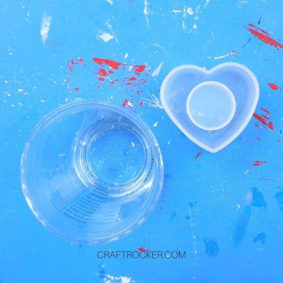 Mixed Resin in Cup next to Heart Napkin Ring Mold - Craft Rocker