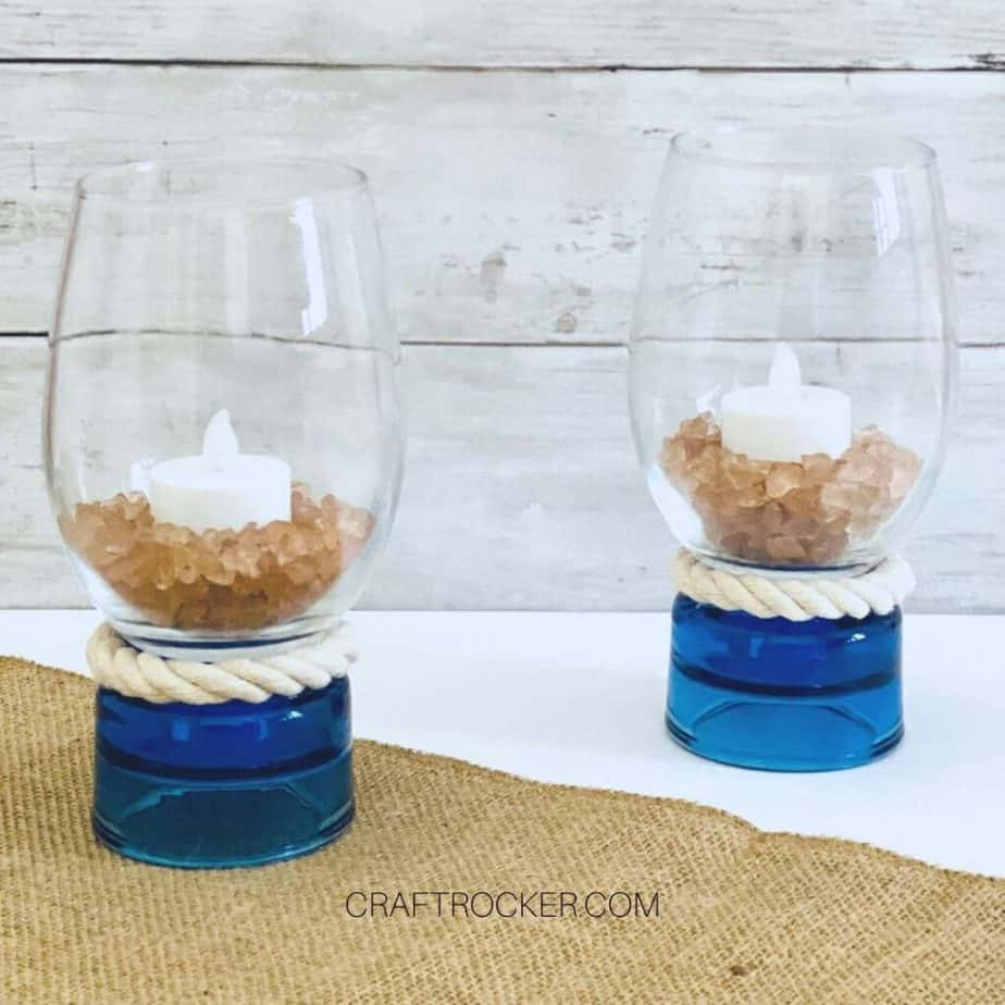 Nautical Candle Holders with Candles Inside - Craft Rocker