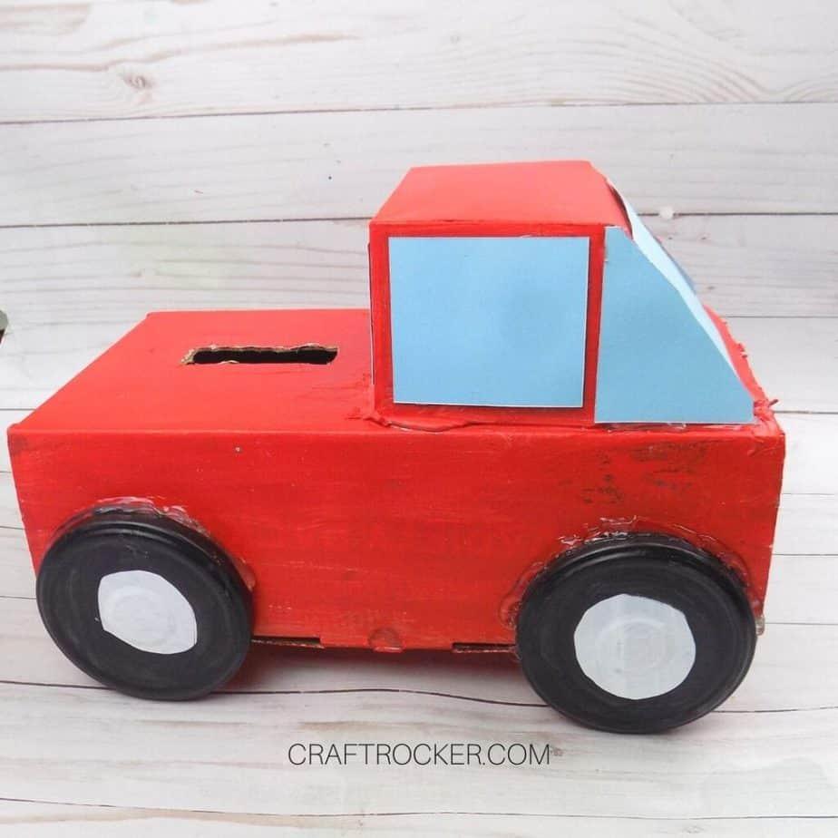 Side View of Red Pickup Truck Valentine Box - Craft Rocker