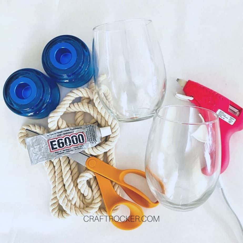 Stemless Wine Glasses and Candle Holders next to Craft Supplies - Craft Rocker