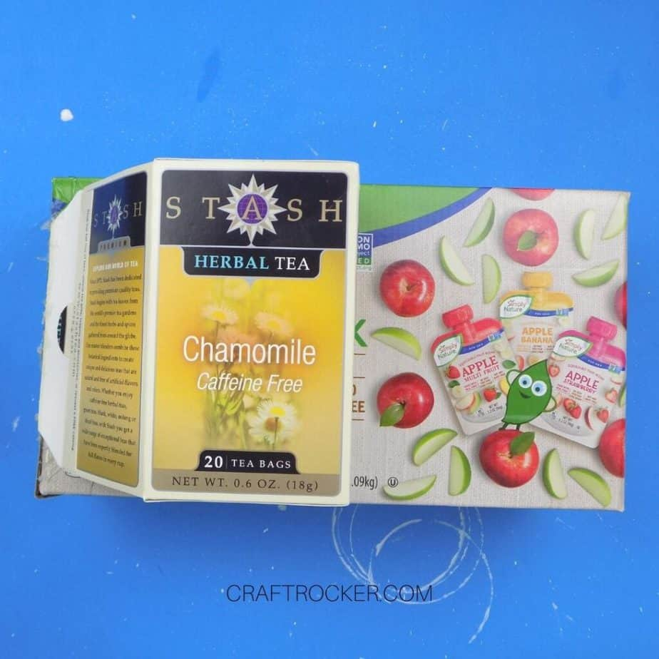 Tea Box Glued to Side of Applesauce Pouches Box - Craft Rocker