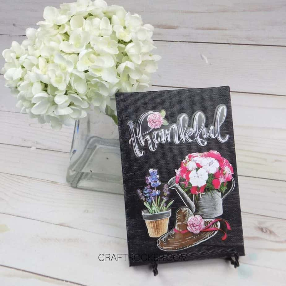 Thankful Decorative Canvas next to Vase of Flowers - Craft Rocker