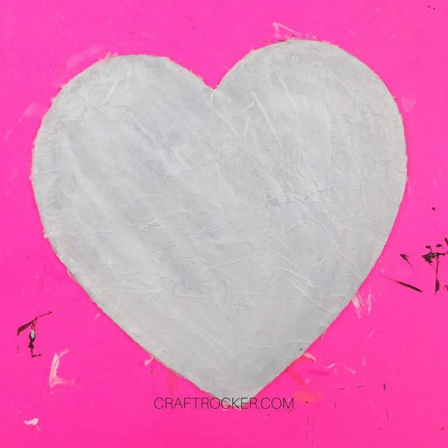 Trimmed Layers of White Tissue Paper and Mod Podge on Wood Heart - Craft Rocker
