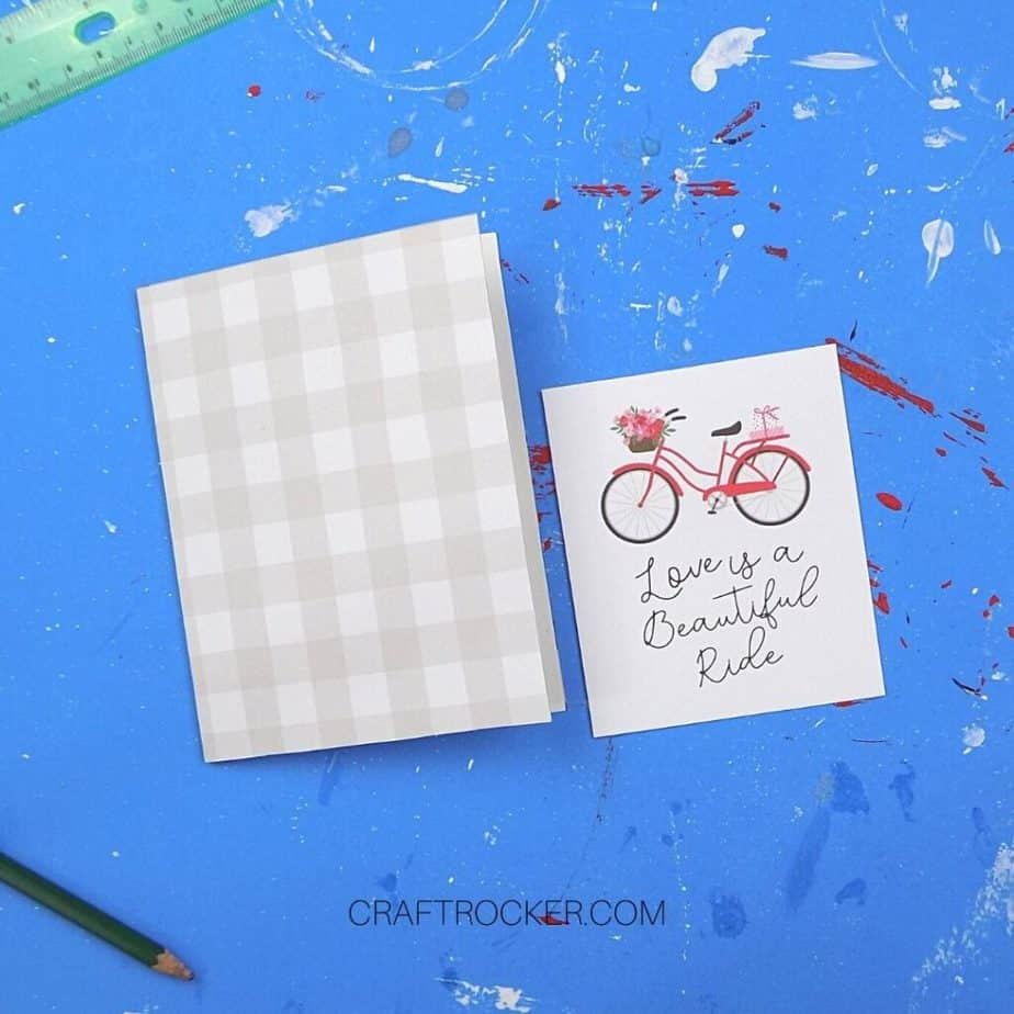 Valentine Bike and Saying Paper next to Greeting Card - Craft Rocker