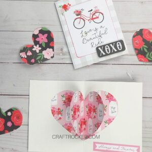Valentines Card next to Open 3D Heart Pop Up Card - Craft Rocker