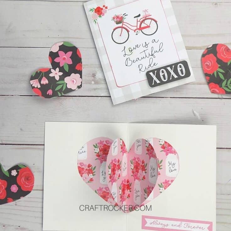 Valentines Card next to Open 3D Heart Pop Up Card - Craft Rocker