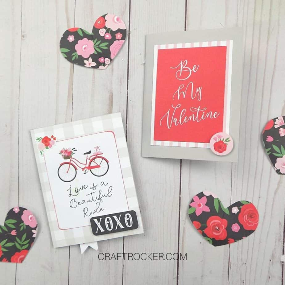Valentines Cards next to Paper Hearts - Craft Rocker