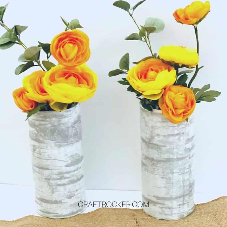 Yellow Flower Arrangements in Faux Birch Vases - Craft Rocker