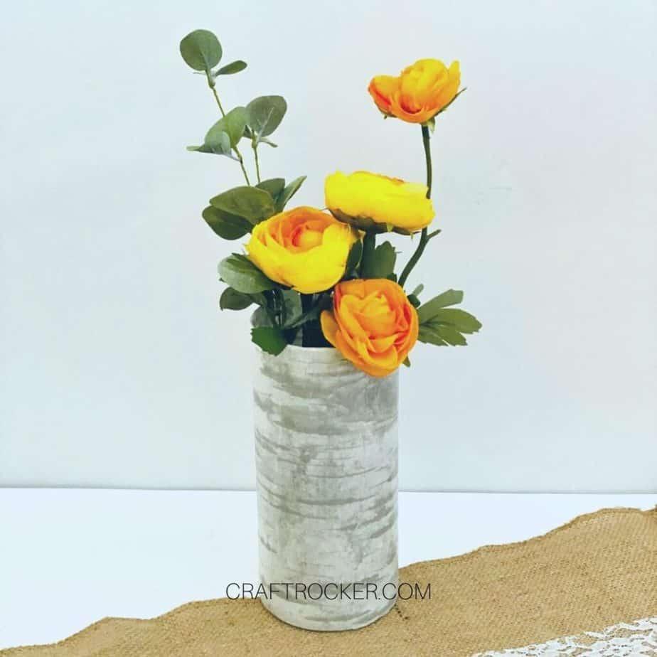 Yellow and Orange Flower Arrangement in Faux Birch Vase - Craft Rocker