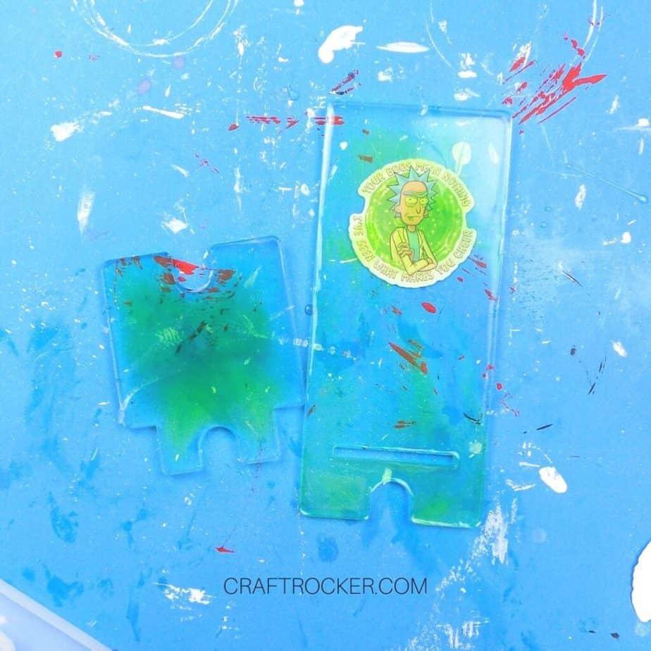 2 Phone Holder Pieces on Blue Background - Craft Rocker