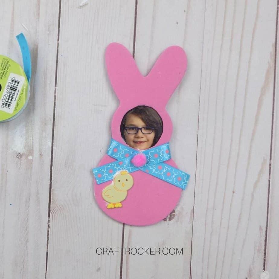 Baby Chick Embellishment Glued to Bottom Left of Foam Bunny - Craft Rocker