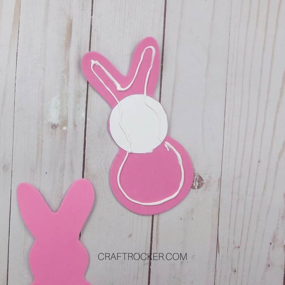 Back of Foam Bunny with Glue Around Edges - Craft Rocker