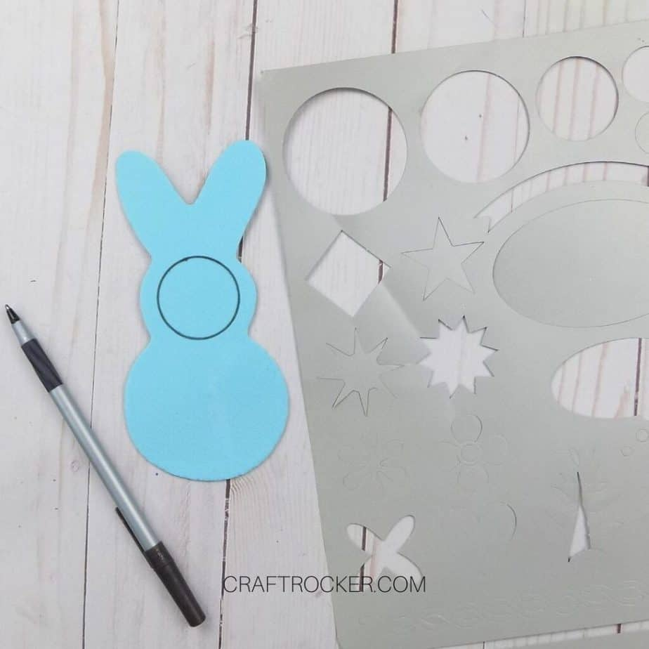 Blue Foam Bunny with Circle Drawn on It next to Stencil - Craft Rocker