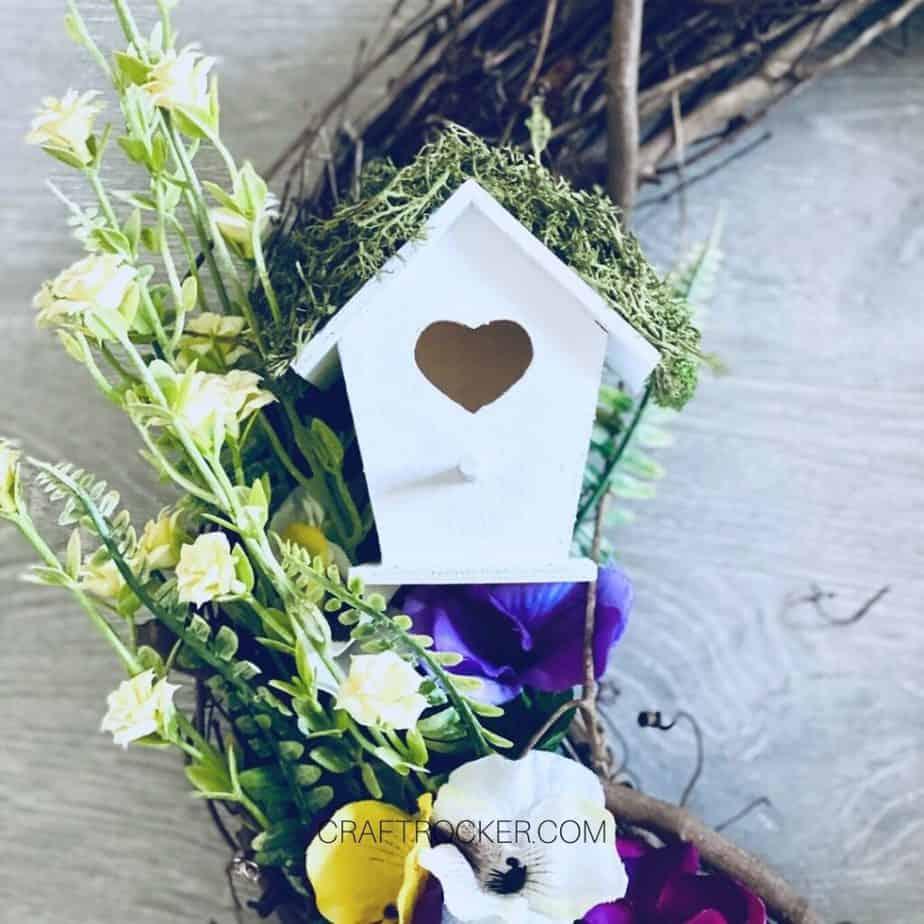 Close Up of Bird House on Dollar Tree Spring Wreath - Craft Rocker