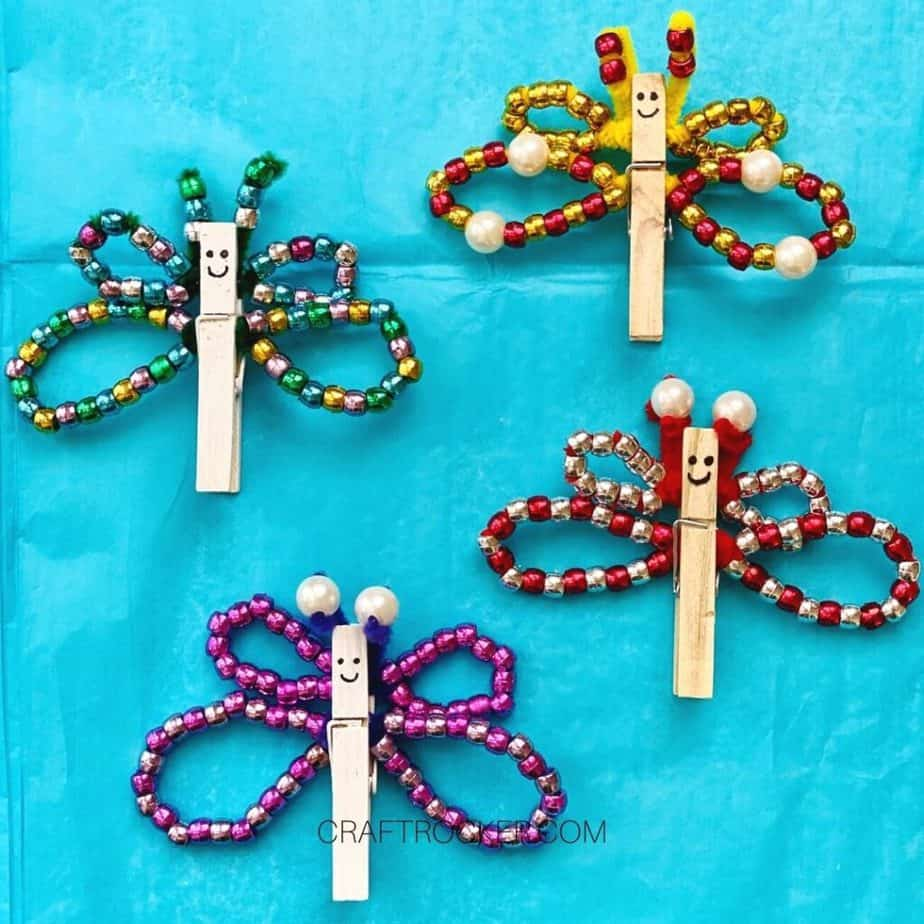 Close Up of Colorful Beaded Clothespin Butterflies - Craft Rocker