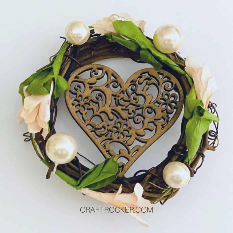 Close Up of Decorated Mini Wreath - Craft Rocker