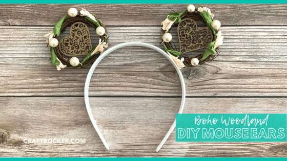 Close Up of Mouse Ears on Wood Background with text overlay - Boho Woodland DIY Mouse Ears - Craft Rocker