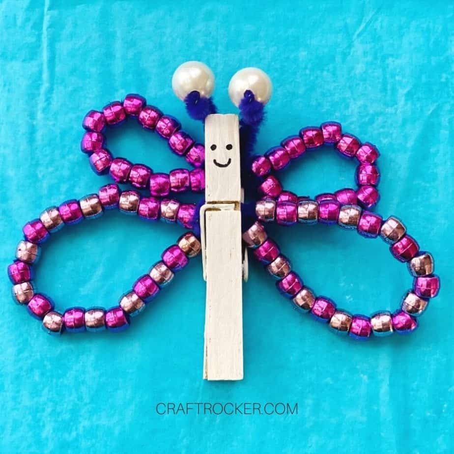 Close Up of Purple Beaded Clothespin Butterfly with Face - Craft Rocker