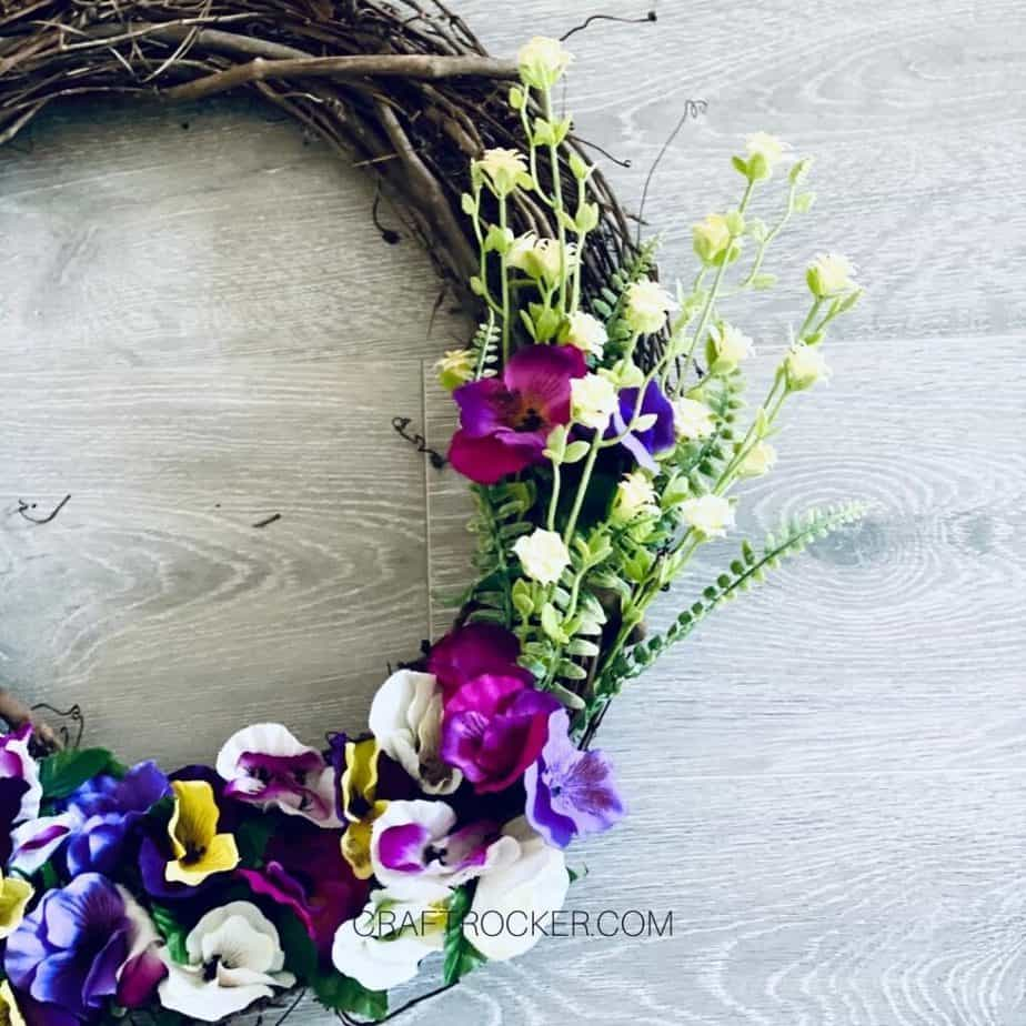Close Up of Right Side of Dollar Tree Spring Wreath - Craft Rocker